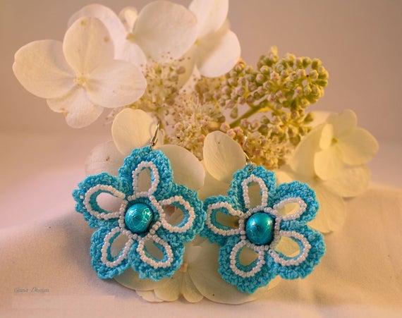 Crochet Flower Dangle Earrings with Beads