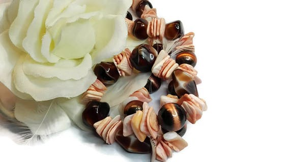 Light Pink Shell and Brown Bead Necklace