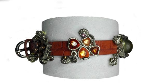 Recycled faux leather bracelet with charms