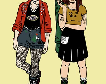 Daria and Jane All Grown Up / A4 Illustration Print