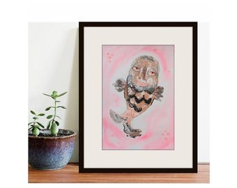 Fish Painting Original Folk Outsider Art Pink Peach Grey Abstract Wall Decor Mixed Media Whimsical Artwork