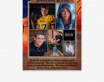 YEARBOOK AD TEMPLATE Baseball, Football, Hockey, Basketball, Soccer, High School Senior, Middle, Elementary, Preschool, Sports, Jostens,