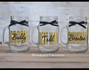FAST SHIPPING-Personalized Rustic Wedding Mason Jar Mugs/Glasses for the Bridal Party; Bridesmaids, Groomsmen, Maid of Honor, Best Man