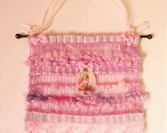 Woven wall hanging or door hanging with sbabby chic portrait, mini pink tapestry