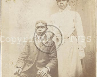 African American Couple Cabinet Photograph
