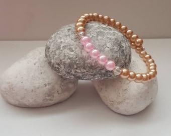Bridal jewelry, pink pearl bracelet, wedding jewelry, bridal bracelet, bridesmaid jewelry, beige pearl bracelet, bridal party jewelry