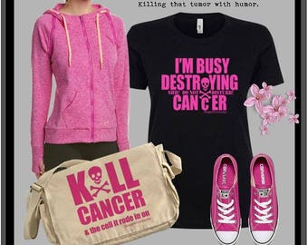 Kill Cancer & the cell it rode in on (w/skull and crossbones) Snarky Messenger Bag by Stage4Products- Killin' that tumor with humor