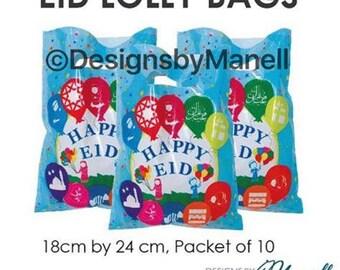 Pack Of 10 Eid Mubarak Lolly Bags