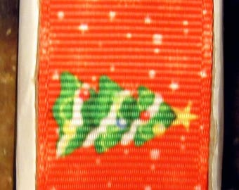 """2 Yards 7/8"""" Snowman Couple and Holiday Tree Print Grosgrain Ribbon"""
