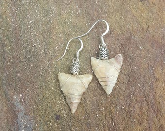 Authentic Wire Wrapped Neolithic African Arrowhead Earrings