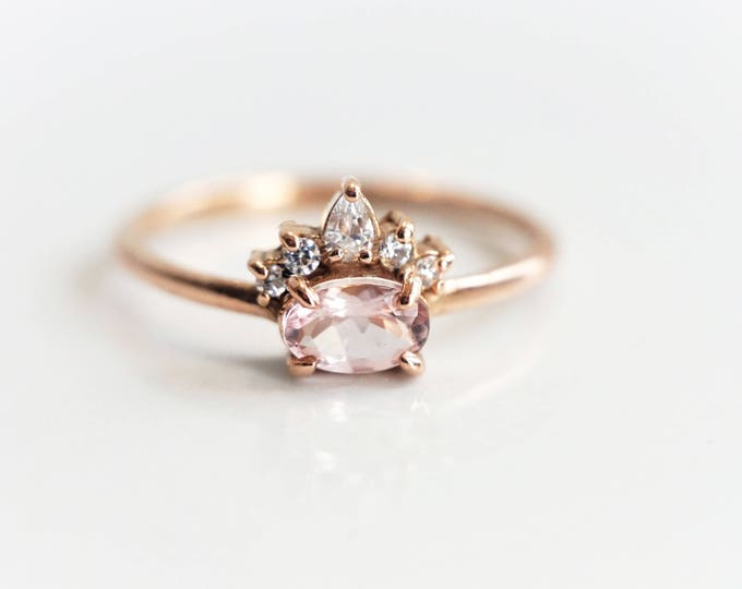 Olina - Oval Baby Pink Morganite 14k or 18k ,Morganite Crown Ring, VS Diamond Morganite Ring, Unique Morganite Engagement Ring