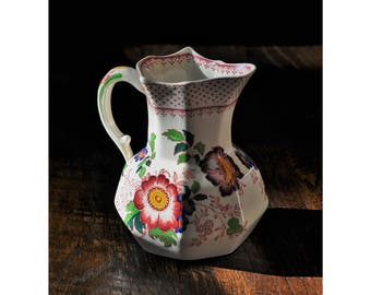 Mason's Ironstone, Staffordshire England, Paynsley Pink,  6.25 Inch Hydra Milk Jug, Ceramic Pottery, Floral Transfer-ware, Collectible China