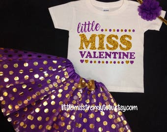 Valentines Day Tutu Set, Purple Tutu, Purple Gold Tutu Set,  Valentines Tutu, Valentines Shirt, Little Miss Valentine, Valentines Tutu Set