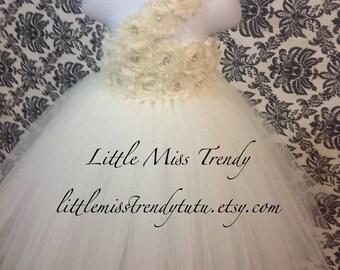 Ivory Flower Girl Tutu Dress, Flower Girl Dress, Ivory Tutu Dress, Ivory Tutu, One Shoulder Tutu Dress, Ivory Dress, Girls Tutu Dress