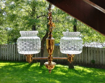 Double Arm Brass Light Fixture with Art Deco Glass Clear Shades