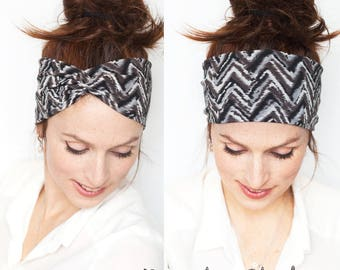 Gray Stripes Turban Headband -  Workout Headband Yoga Headband Grey Headband Head wrap Turban Women accessories Gift for Her Christmas Gift