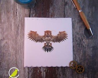 Steampunk Owl Blank Card, Flying Owl Card, Steampunk Card, UK