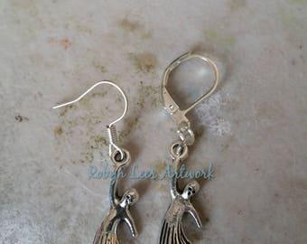 Tiny Silver Hanging Ghost Charm Earrings on Silver Earring Hooks or Leverbacks. Spirit, Halloween, Horror, Costume, Cute