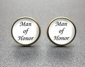 Man of Honor Cufflinks, Man of Honour Cufflinks, personalized cufflinks