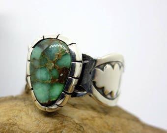 Damele Variscite  and Sterling Silver Cloud Ring, Size 9, southwestern jewelry, boho ring, gypsy ring, hand stamped, modern, gift jewelry