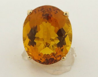 Vintage 14 kt Gold Retro Emerald Cut Medium Golden Color Eye Clean Citrine & 2 Single Cut Diamond (t.w. = .08 carats) Ring /Size 9.