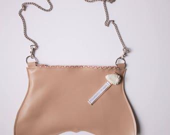 Pochette en véritable cuir nude, porté bandoulière épaule, mini sac, petit sac
