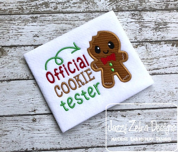 Official cookie tester with gingerbread man Christmas saying embroidery design - Christmas embroidery design - gingerbread man embroidery