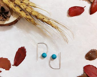 Sweet Encounter Collection | Bohemian Earrings, Structure Ear Hooks, Blue Tensha Beads Earrings, Minimalist Earrings, Boho Earrings