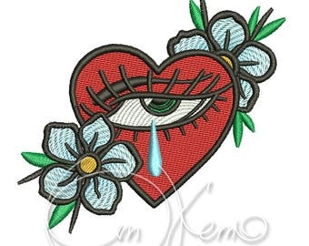 MACHINE EMBROIDERY DESIGN - Old School Sacred heart