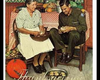 Air Force Art Print, Classic 1945 Norman Rockwell Thanksgiving Art, Mother and Son Peeling Potatoes, Military Art, Vintage Illustration