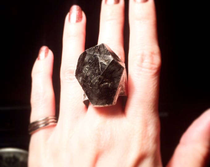 Tourmaline Quartz Cube Ring, Size 11