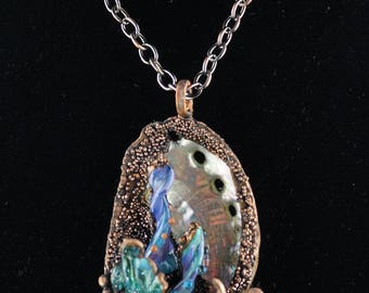 Copper Shell Jewelry, Electroformed jewelry, underwater scene jewelry , copper jewelry, ocean jewelry, sea life jewelry,resort wear. beachy