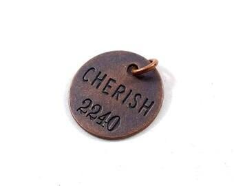 Copper Cherish Word Pendant, Round Pendant, Stamped Pendant