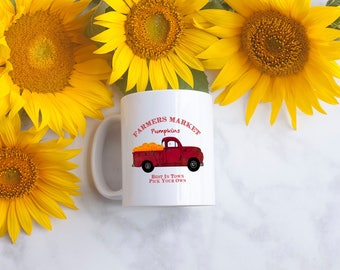 Coffee Mug - pumpkins - red truck - vintage style - 11oz coffee mug - dishwasher and microwave safe - MADE TO ORDER