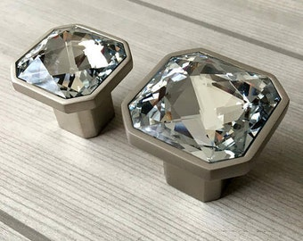 Glass Knob Dresser Knobs Crystal Drawer Knobs Sparkle Clear Diamond Cabinet  Door Knob Square Brushed Nickel