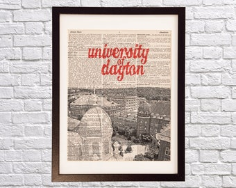 University of Dayton Dictionary Art Print - Dayton Ohio - Print on Vintage Dictionary - Campus Print - Gift For Him or Her - Dayton Chapel
