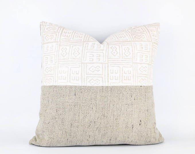 African Design Hand Block Printed Linen And Flax Belgian Linen Textile Pillow Cover Various Sizes
