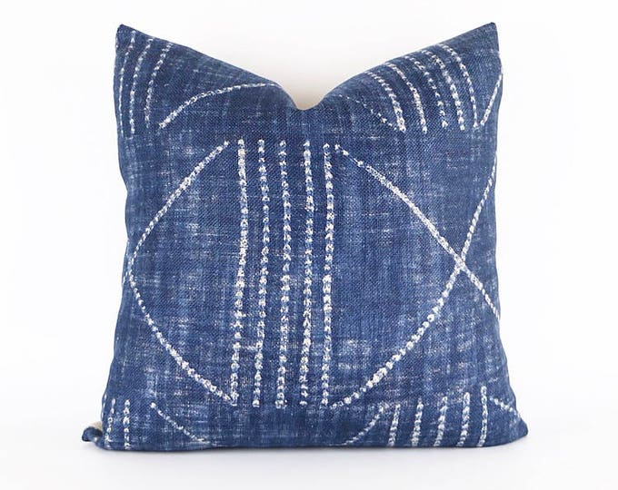 Indigo 100% Heavy Weight Linen Tribal African Textile Pillow Cover Various Sizes
