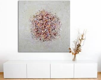 "Large 48"" Original Abstract Painting on Canvas by Lisa Carney - PETA BURST 2 - Botanical Art - Drip Art, Flower Petals, Modern Abstract"