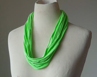 Recycled T-Shirt Necklace Neon Green