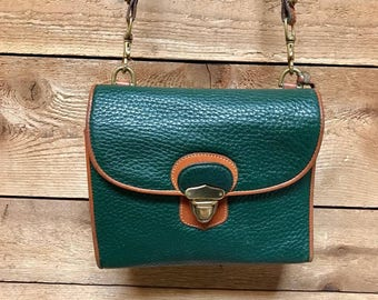 "Vintage Dooney & Bourke ""Plaza"" Crossbody Bag Vtg Kelly Green Small Satchel Saddle Purse Made in USA"