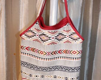 Ethnic Mexican Burgundy and gold cotton canvas tote bag