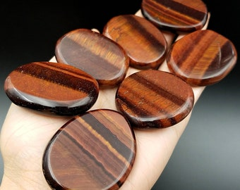 Red Tiger Eye Palm Stone for Grounding and Protection - Meditation Root Chakra Large Worry Crystal