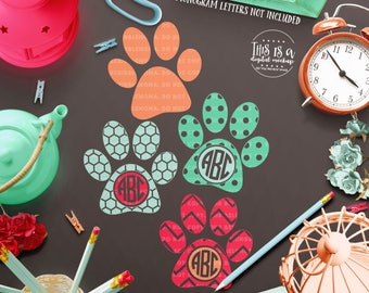 Paw Print svg, Paw Monogram svg, Dog Paw svg, Dog Monogram svg, Monogram Cut File, eps, dxf, png Cut Files for Silhouette for Cricut