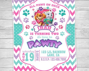926: DIY - Skye and Everest Paw Patrol Party Invitation Or Thank You Card