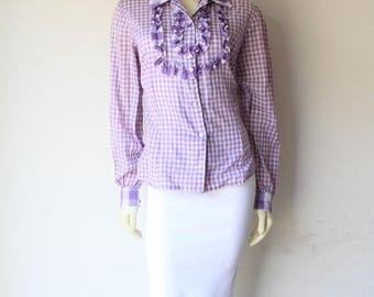 79's Vintage Purple GIngham Check Ruffle Front Button Down Shirt