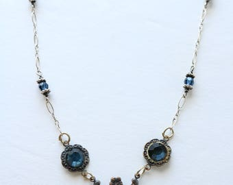 Blue Bead Necklace - Dainty Silver Necklace