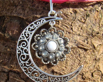 Flower Moon Charm Necklace