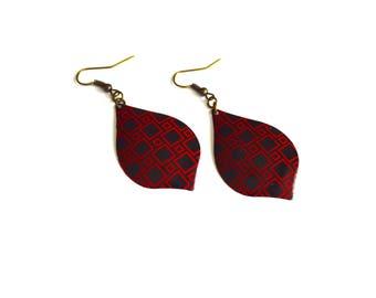 Metal earrings, black and red tin earrings, dangle and drop earrings, red metal earrings, black metal earrings, bohemian earring, under 15 .