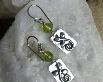 Sterling Silver Tag Leaf Earrings with Peridot beads